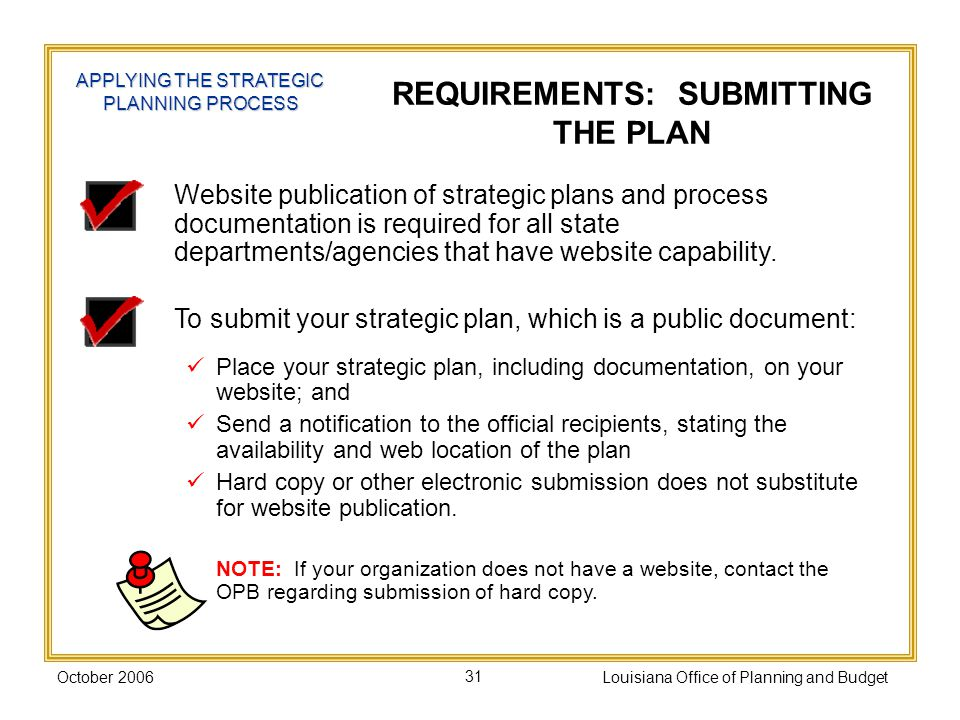 REQUIREMENTS: SUBMITTING THE PLAN