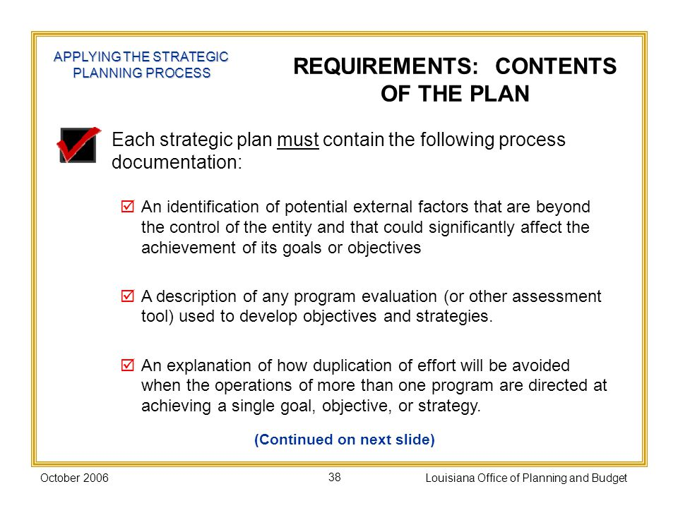 REQUIREMENTS: CONTENTS OF THE PLAN (Continued on next slide)