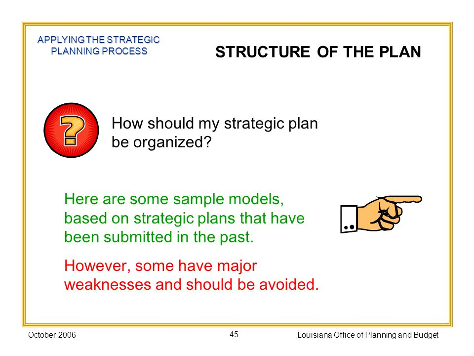 How should my strategic plan be organized