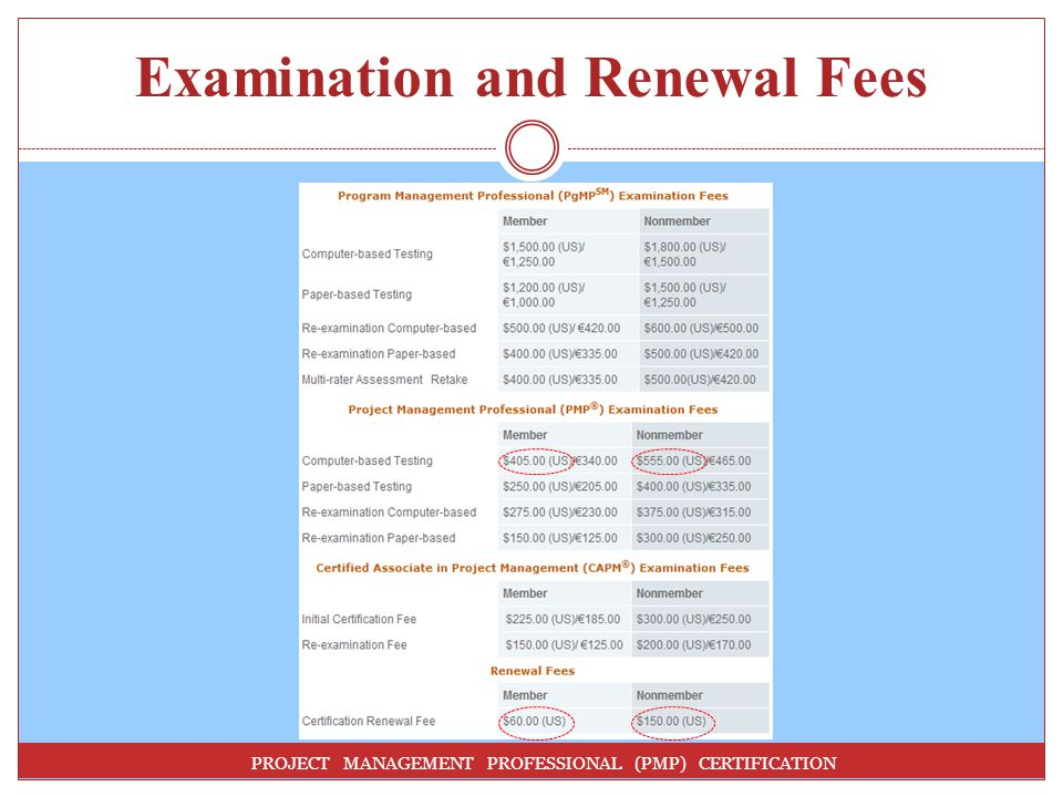 Examination and Renewal Fees
