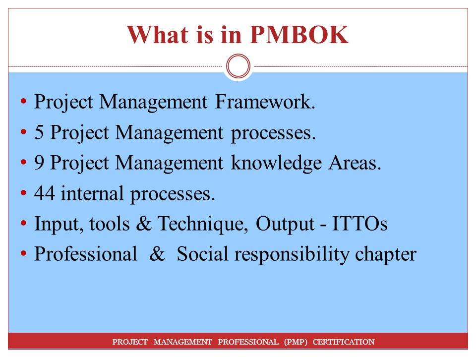 What is in PMBOK Project Management Framework.
