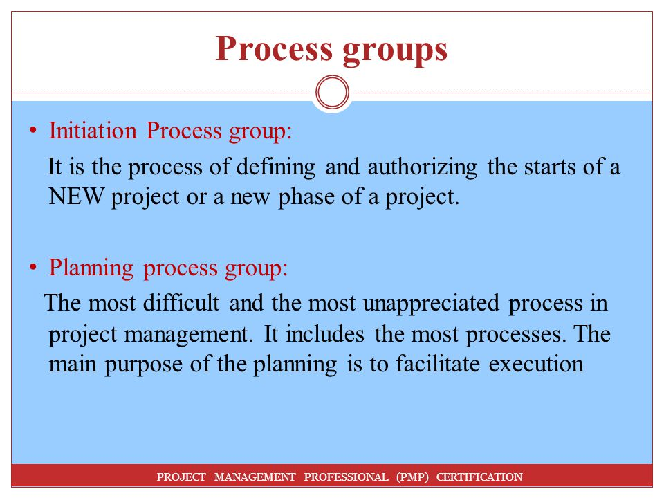 Process groups Initiation Process group: