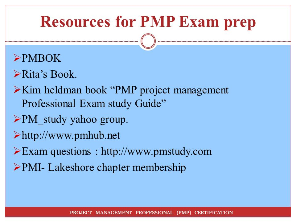 Resources for PMP Exam prep