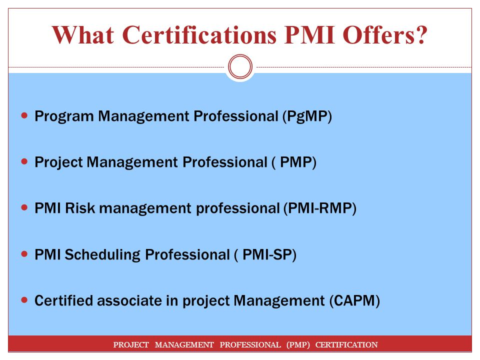 What Certifications PMI Offers