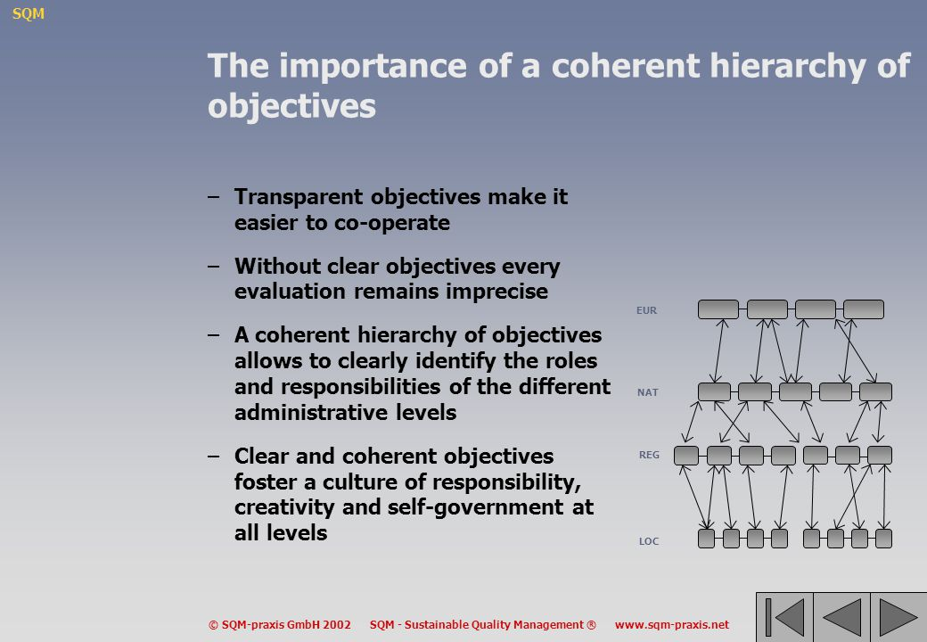 The importance of a coherent hierarchy of objectives