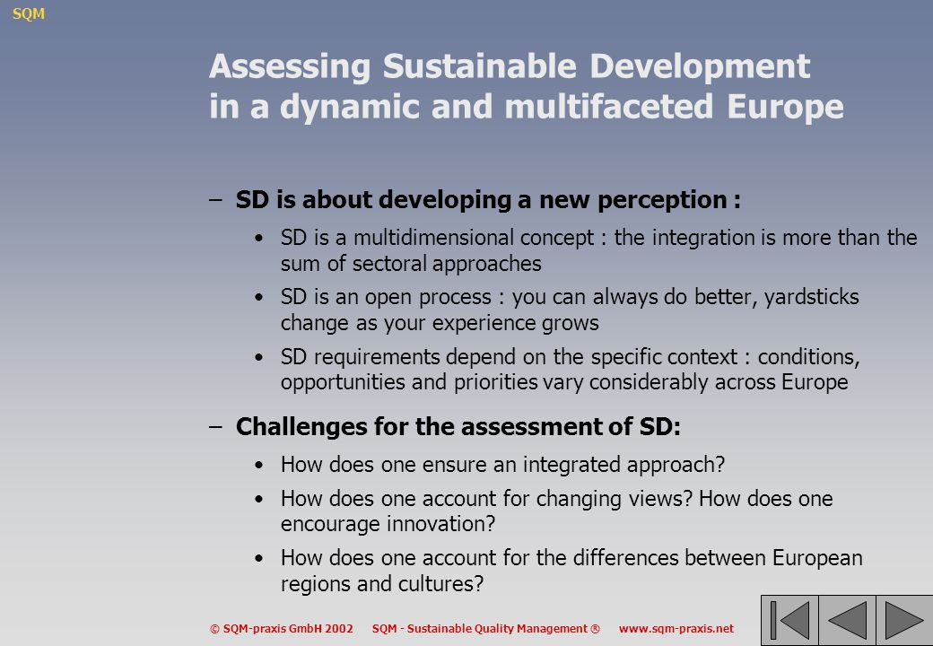 Assessing Sustainable Development in a dynamic and multifaceted Europe