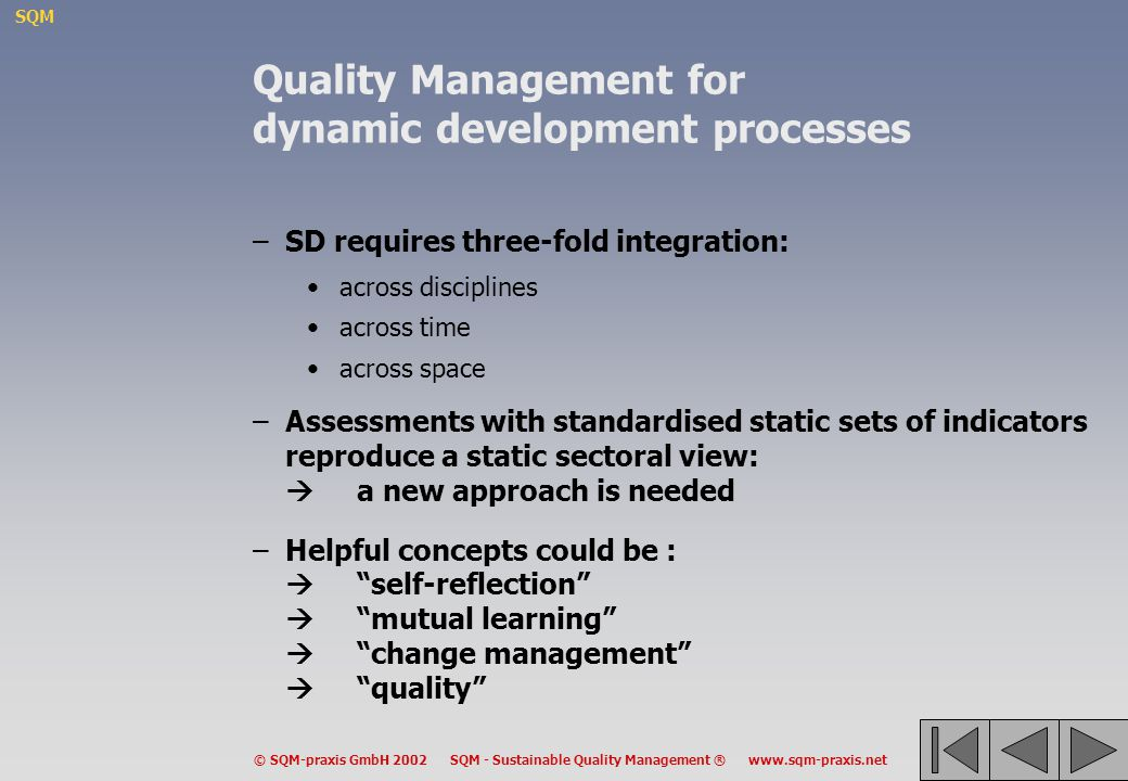 Quality Management for dynamic development processes