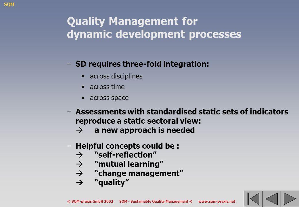 Quality Management for dynamic development processes