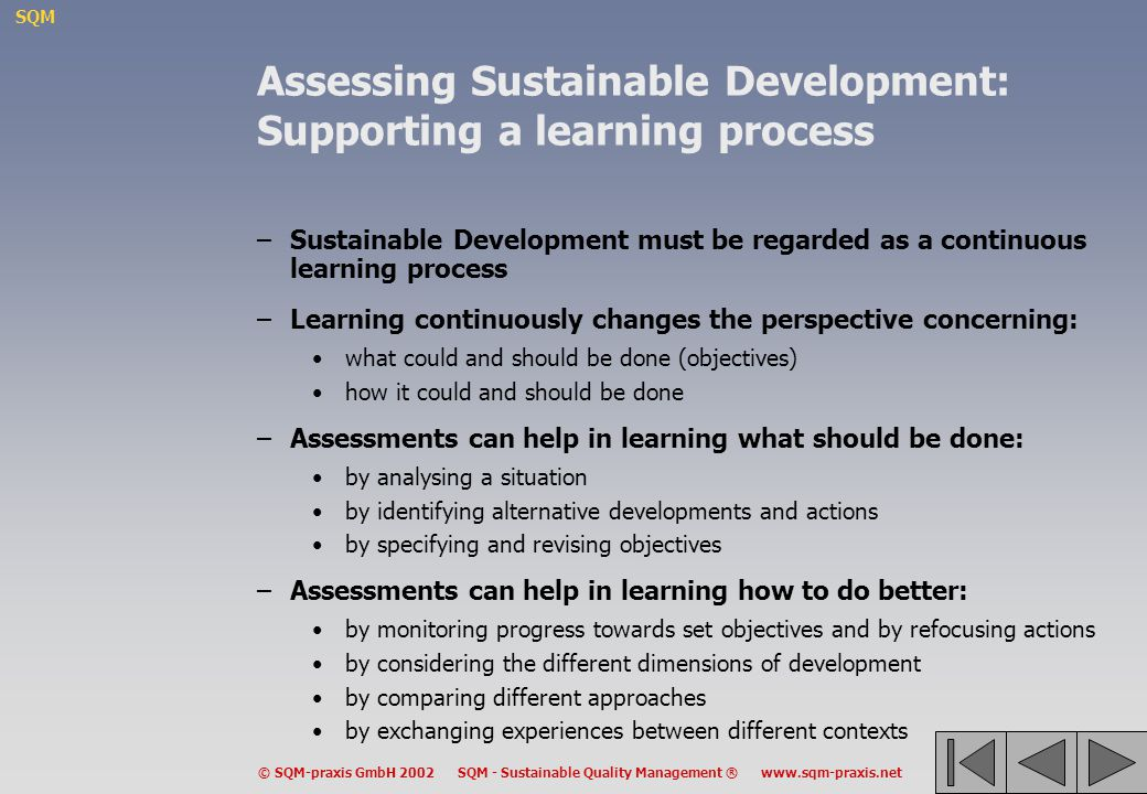 Assessing Sustainable Development: Supporting a learning process