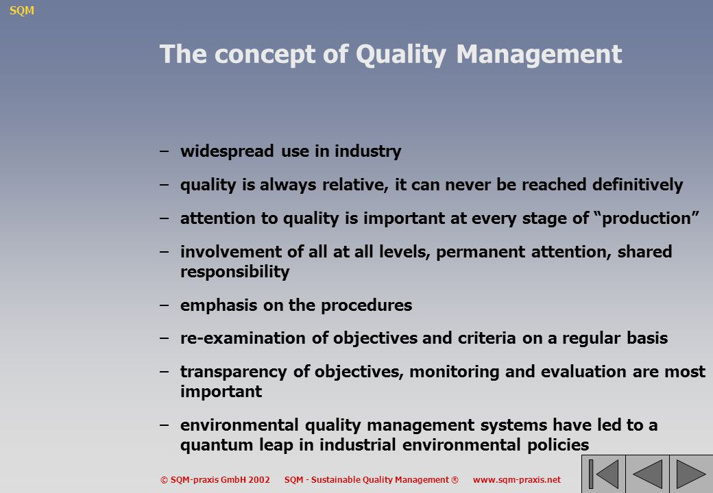 The concept of Quality Management