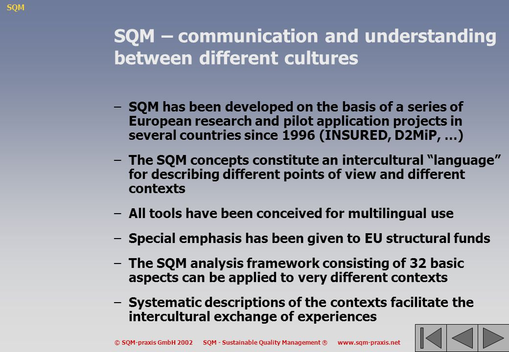 SQM – communication and understanding between different cultures