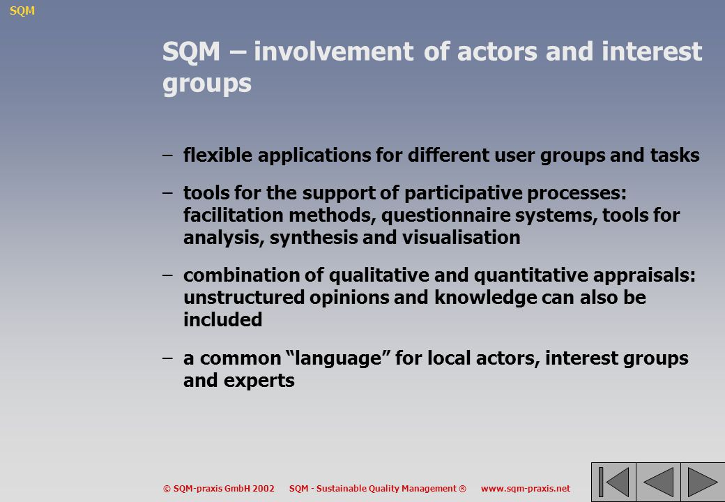 SQM – involvement of actors and interest groups
