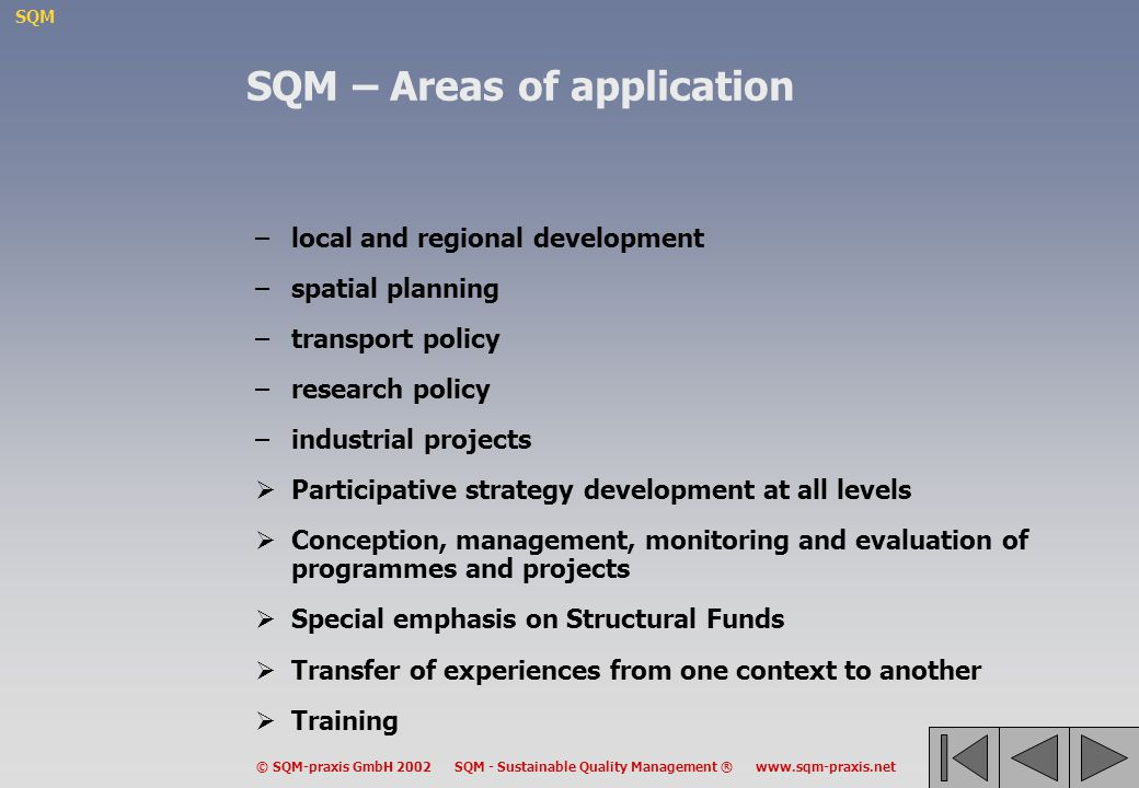 SQM – Areas of application