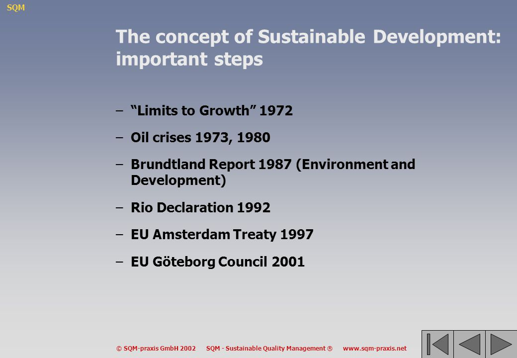 The concept of Sustainable Development: important steps