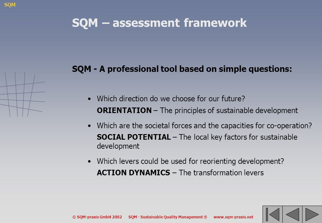 SQM – assessment framework