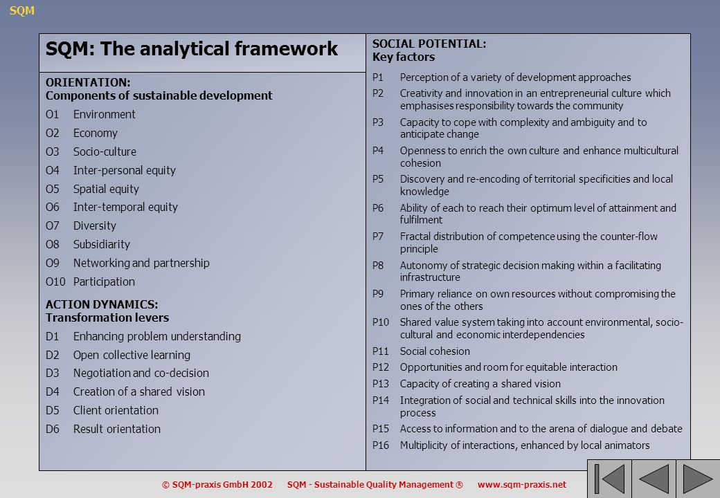 SQM: The analytical framework