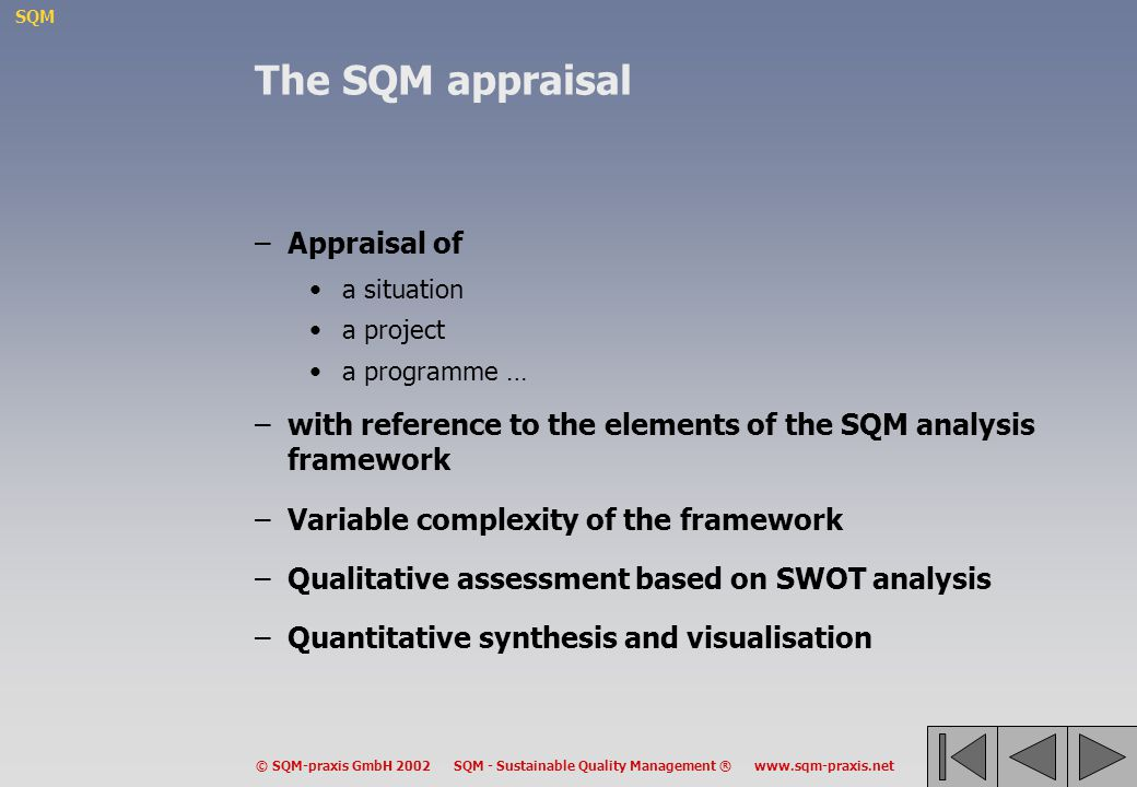 The SQM appraisal Appraisal of