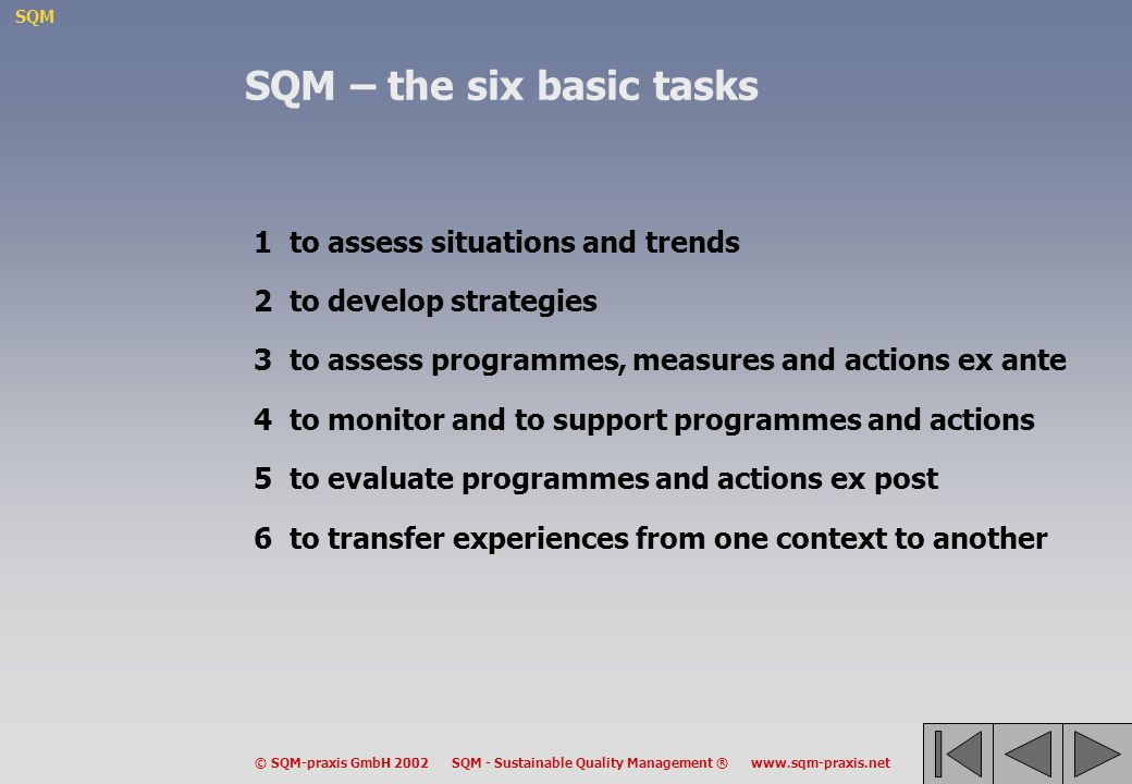 SQM – the six basic tasks