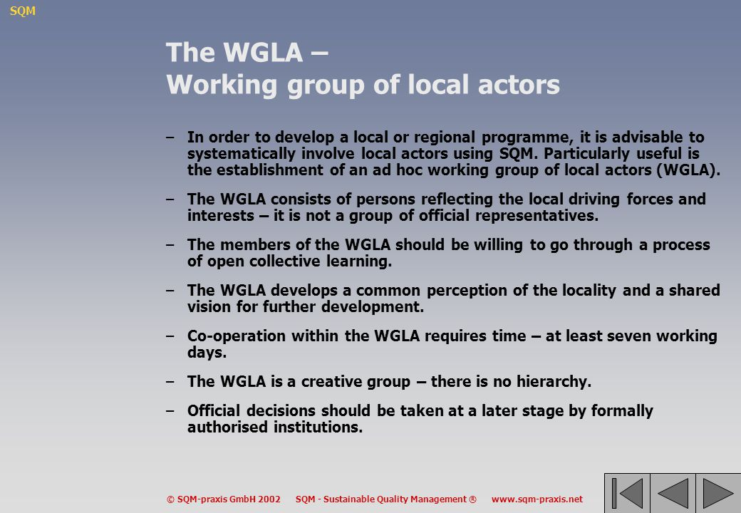 The WGLA – Working group of local actors