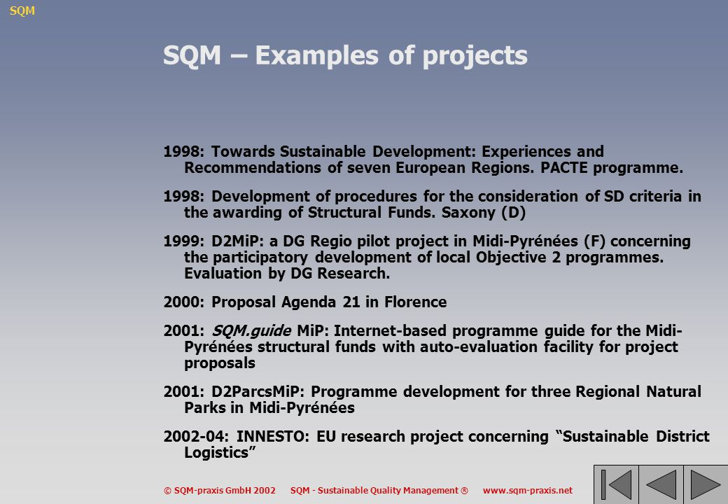 SQM – Examples of projects