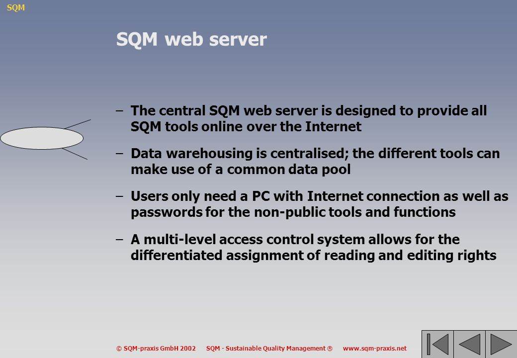SQM web server The central SQM web server is designed to provide all SQM tools online over the Internet.