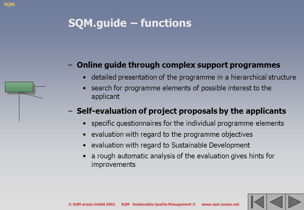 SQM.guide – functions Online guide through complex support programmes