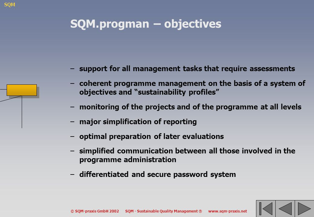 SQM.progman – objectives