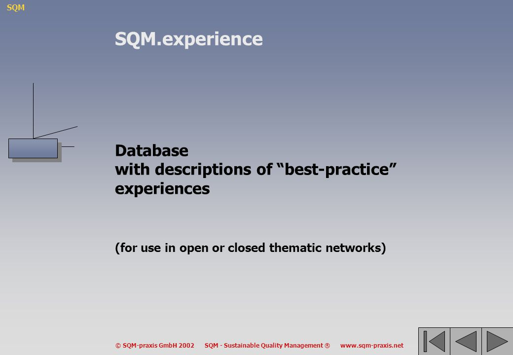 SQM.experience Database with descriptions of best-practice experiences (for use in open or closed thematic networks)
