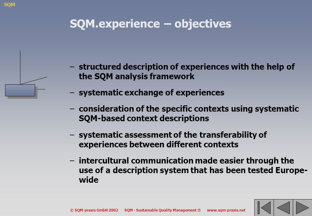 SQM.experience – objectives