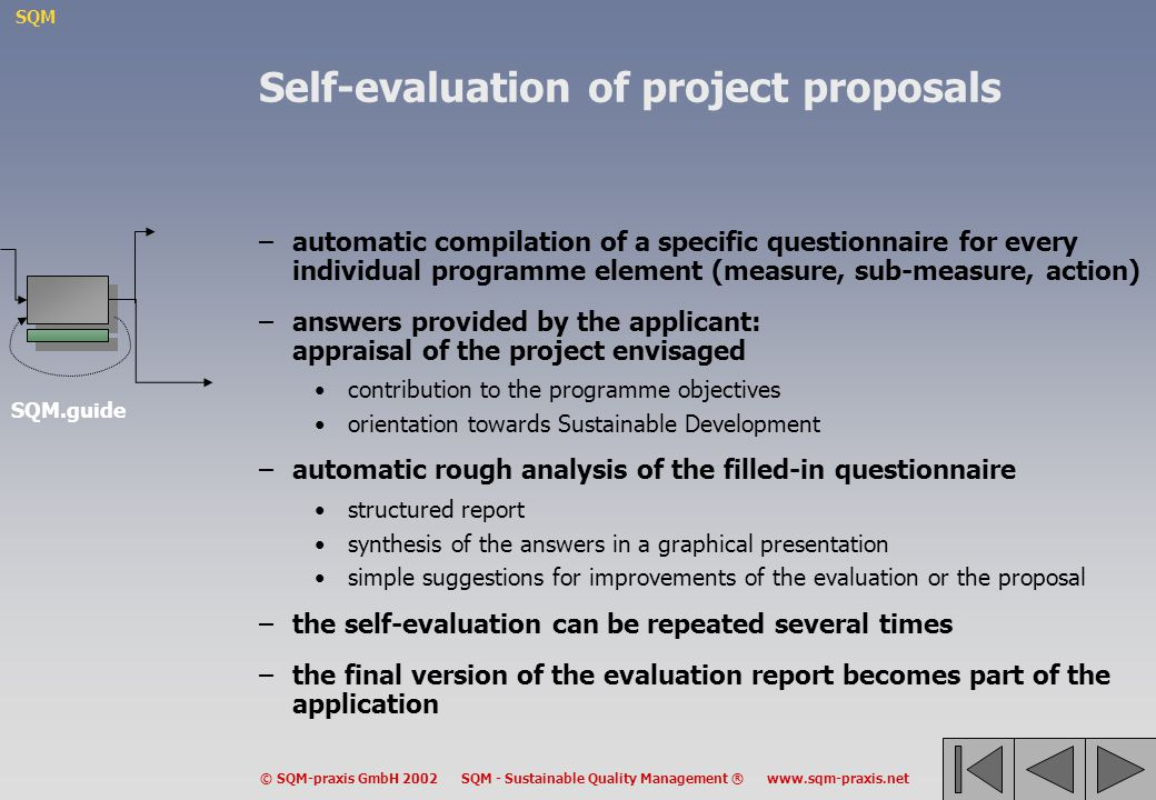 Self-evaluation of project proposals