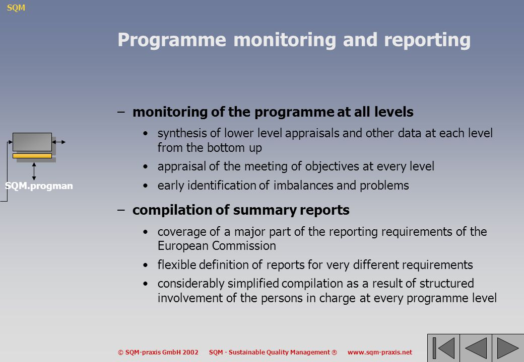 Programme monitoring and reporting