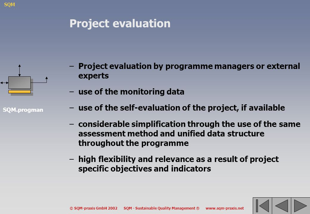 Project evaluation Project evaluation by programme managers or external experts. use of the monitoring data.