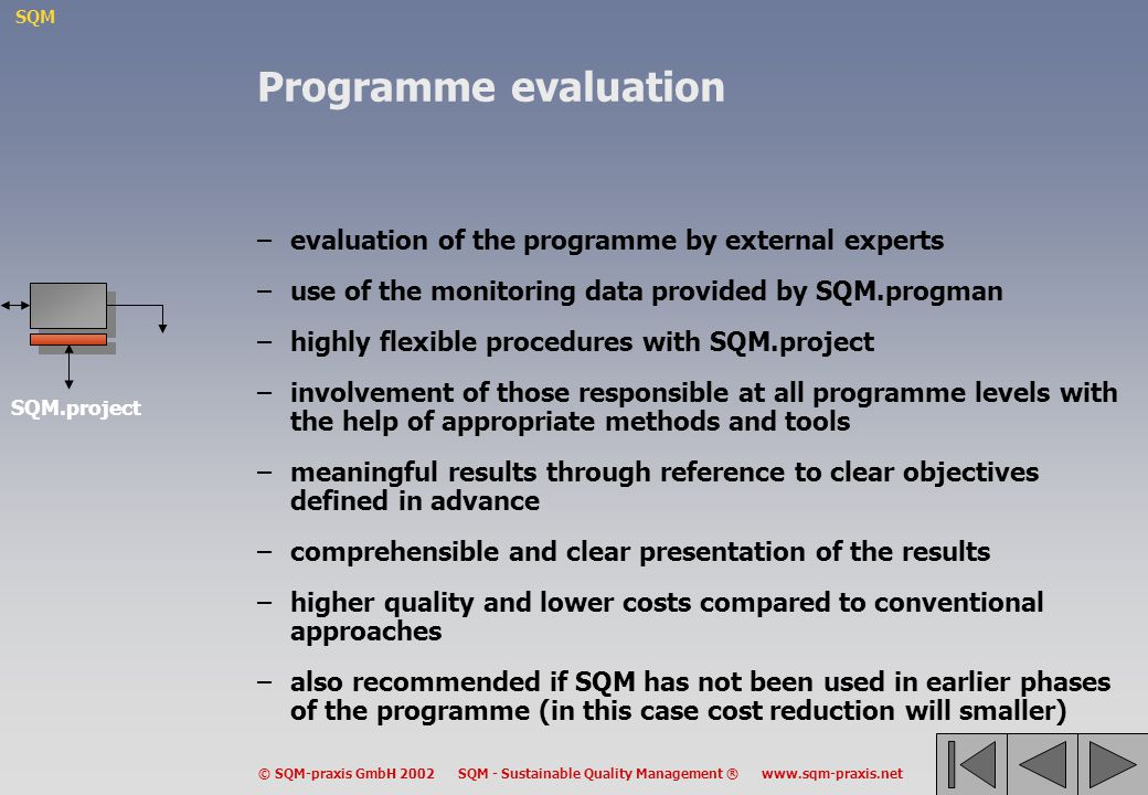 Programme evaluation evaluation of the programme by external experts