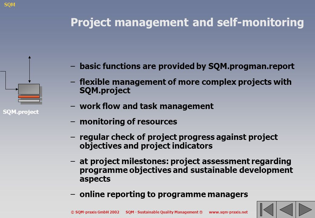 Project management and self-monitoring