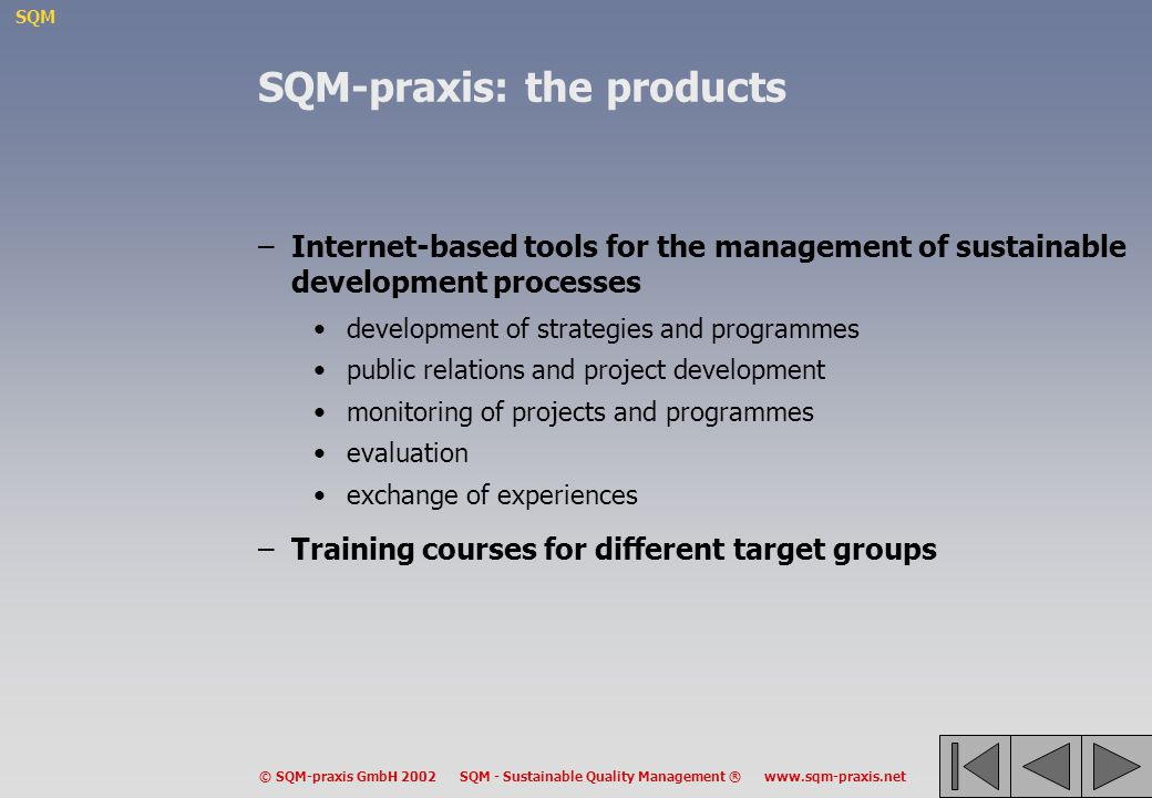 SQM-praxis: the products