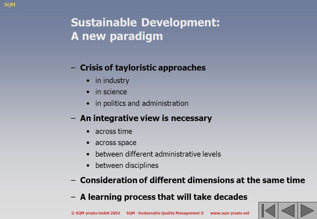 Sustainable Development: A new paradigm