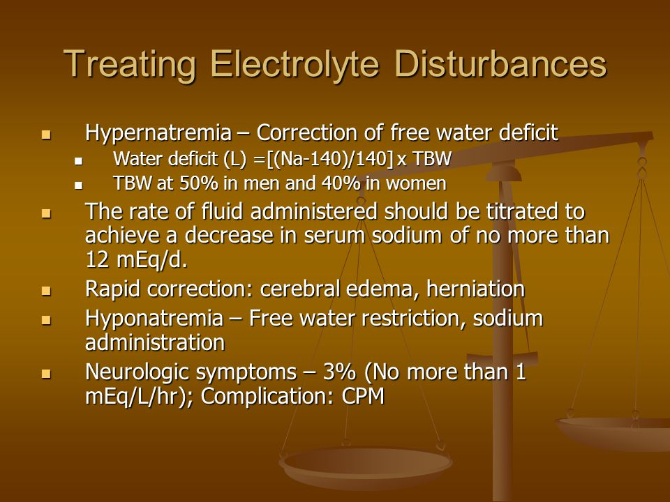 Treating Electrolyte Disturbances