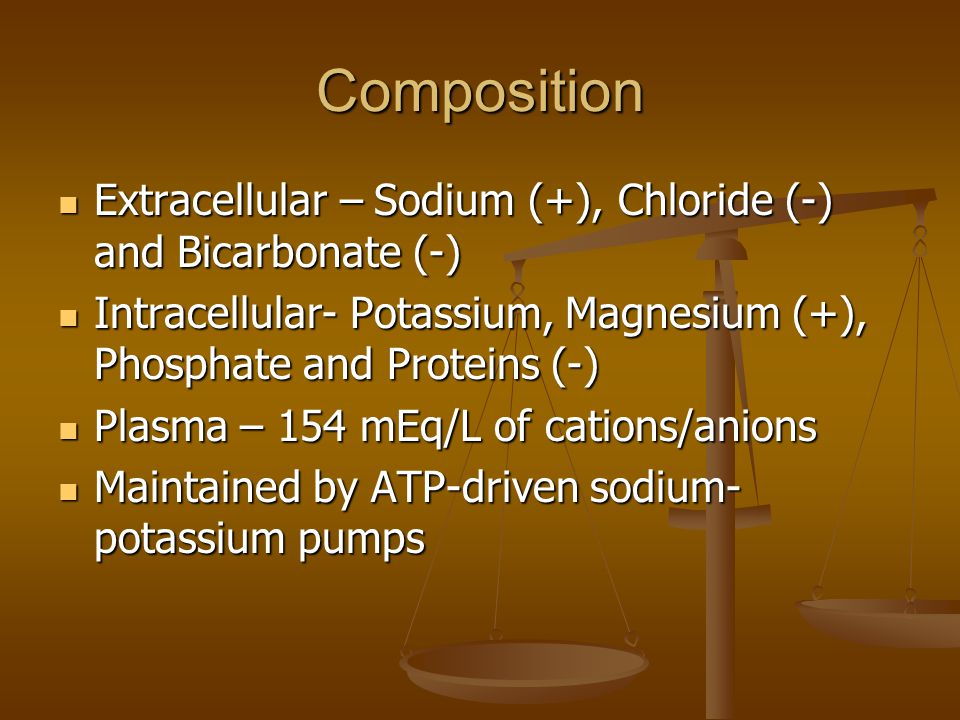 Composition Extracellular – Sodium (+), Chloride (-) and Bicarbonate (-) Intracellular- Potassium, Magnesium (+), Phosphate and Proteins (-)