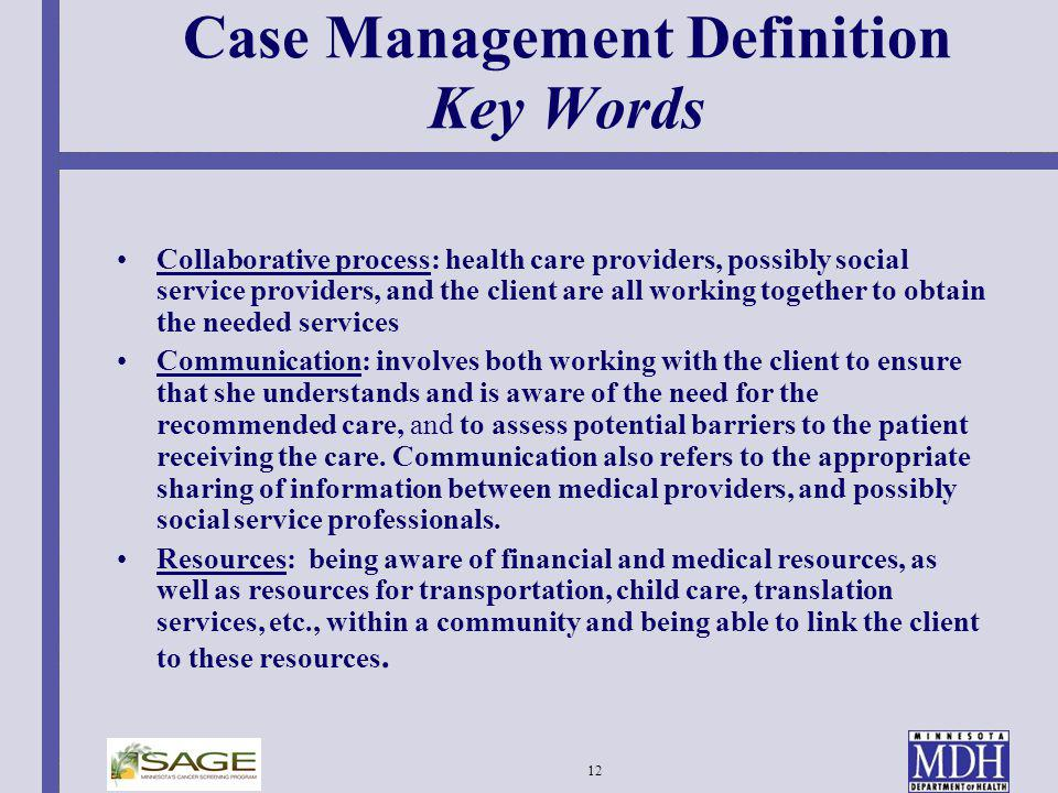 Case Management Definition Key Words