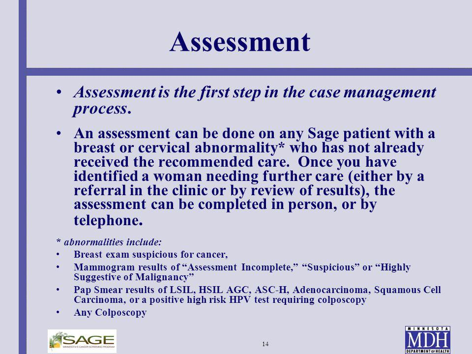 Assessment Assessment is the first step in the case management process.