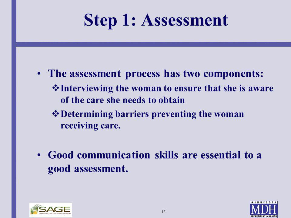 Step 1: Assessment The assessment process has two components: