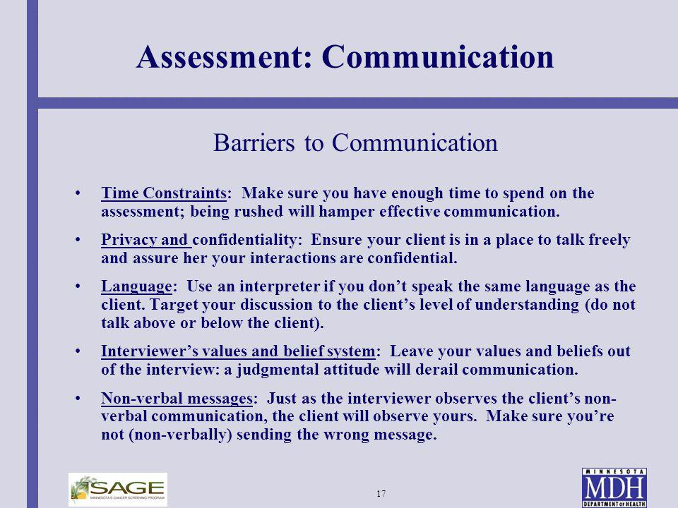 Assessment: Communication