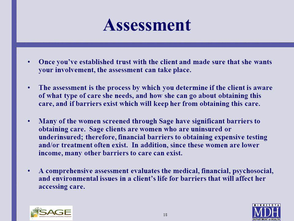 Assessment Once you've established trust with the client and made sure that she wants your involvement, the assessment can take place.