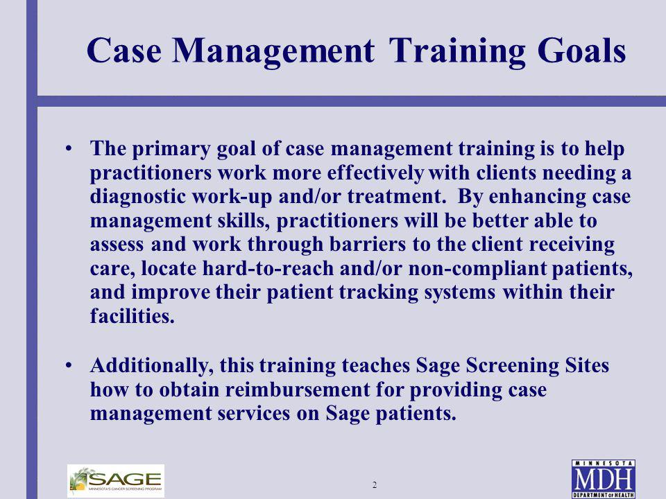 Case Management Training Goals