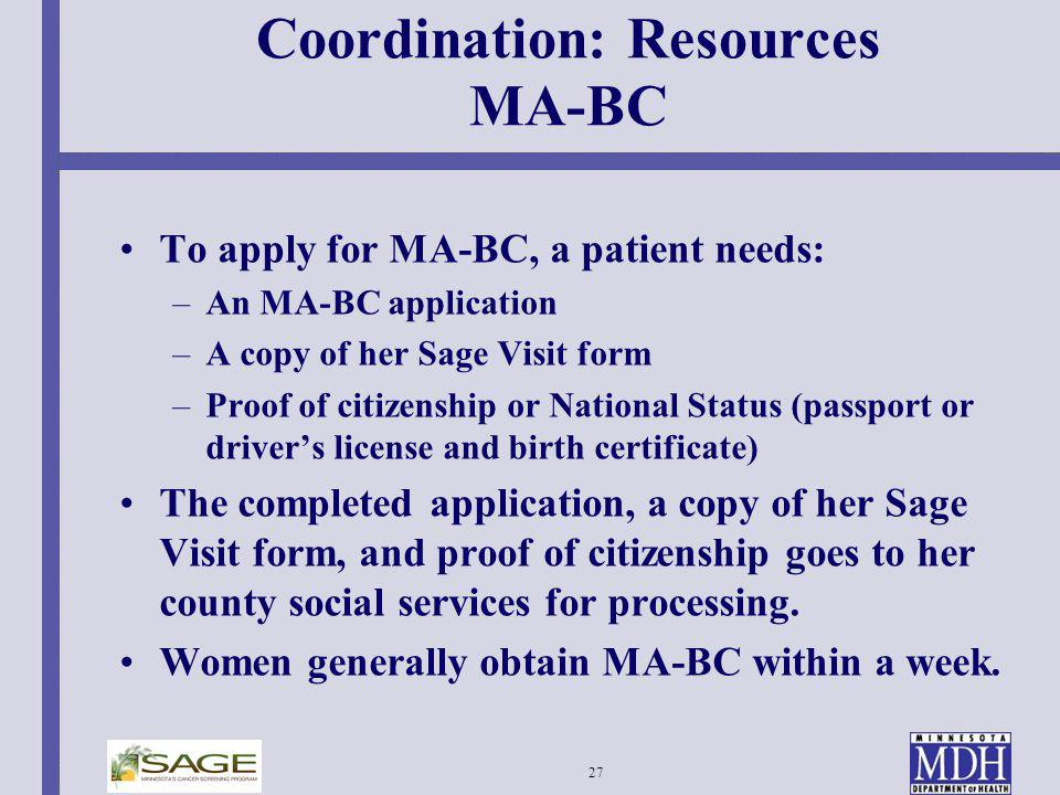 Coordination: Resources MA-BC