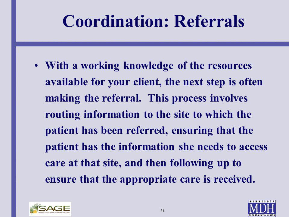 Coordination: Referrals