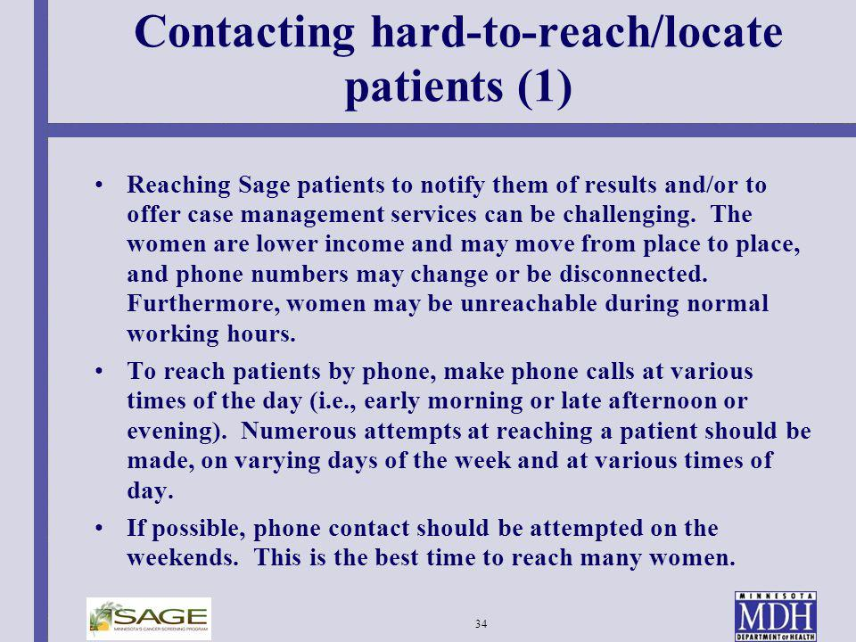 Contacting hard-to-reach/locate patients (1)