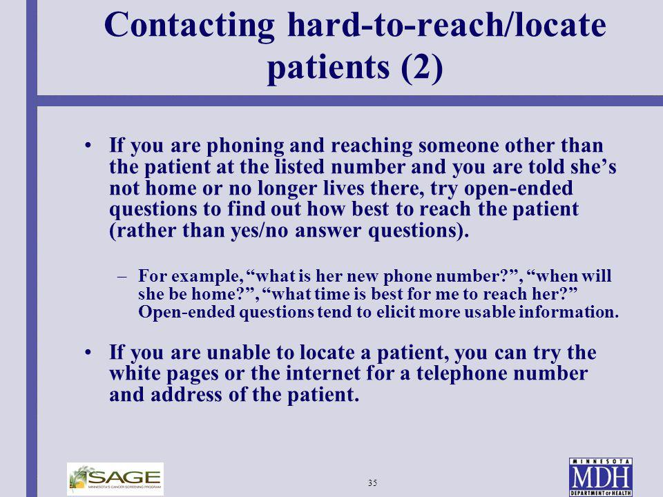 Contacting hard-to-reach/locate patients (2)