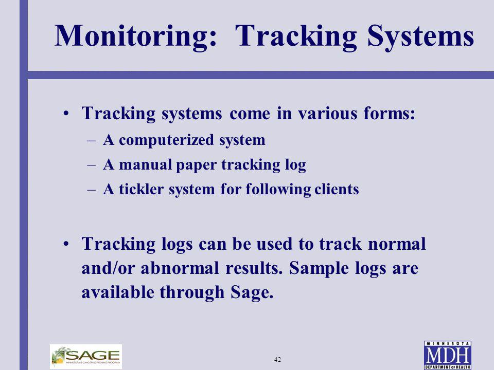 Monitoring: Tracking Systems