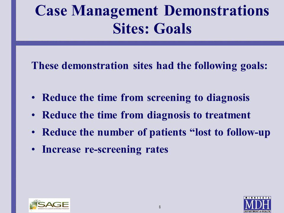 Case Management Demonstrations Sites: Goals